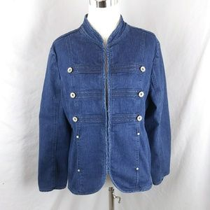 Live a little jean military asian long blue jacket